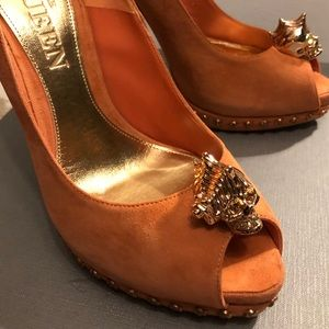 Alexander McQueen Orange Skull Pumps